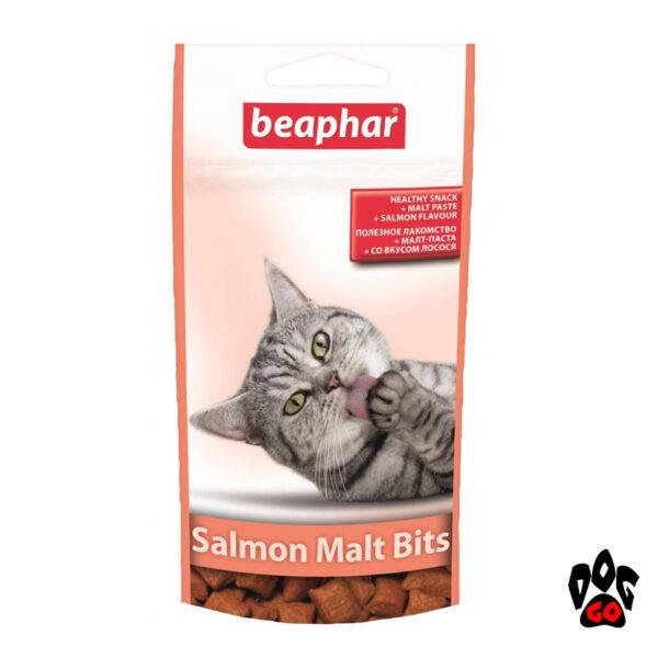 Вывод шерсти у кошек BEAPHAR Malt Bits, подушечки с лососем и пастой, 35 г