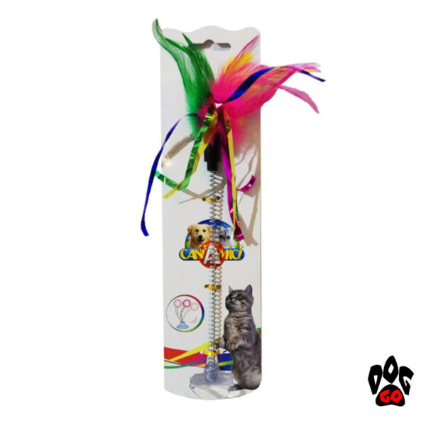Игрушка для кошек Дразнилка с перьями на присоске CROCI, 29 см