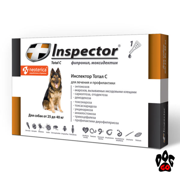 Капли Инспектор для собак Total C от блох, клещей и глистов (25-40 кг), 4 мл