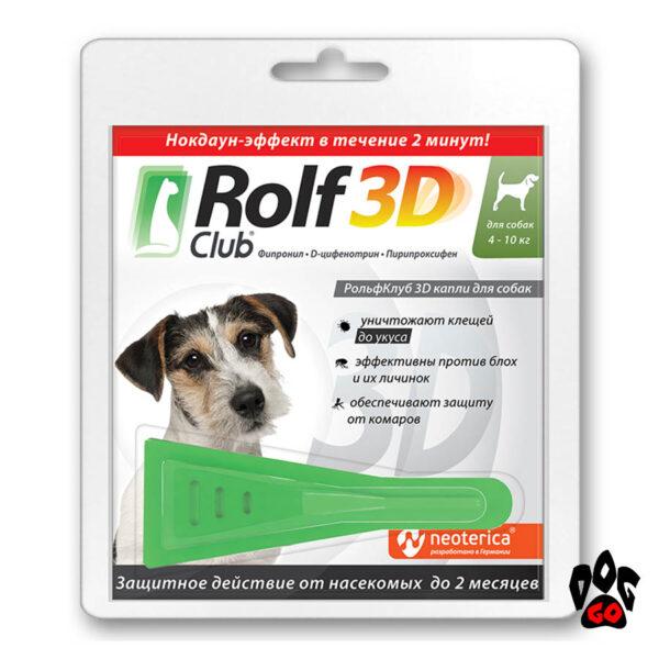 Капли на холку Рольф Клуб для собак от клещей и блох 4-10 кг, 1 мл