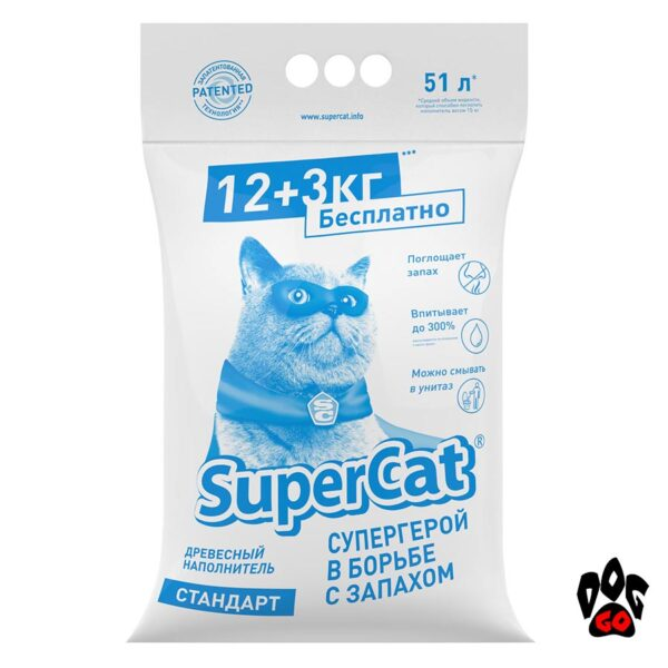 Super Cat Стандарт 15 кг COLLAR древесный