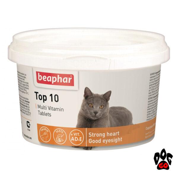 Витамины BEAPHAR TOP 10 для кошек и котят для иммунитета, 180 табл