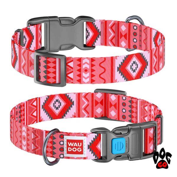 COLLAR Ошейник для маленьких собак WAUDOG Nylon с рисунком, XS (23-35 см) - Этно красный
