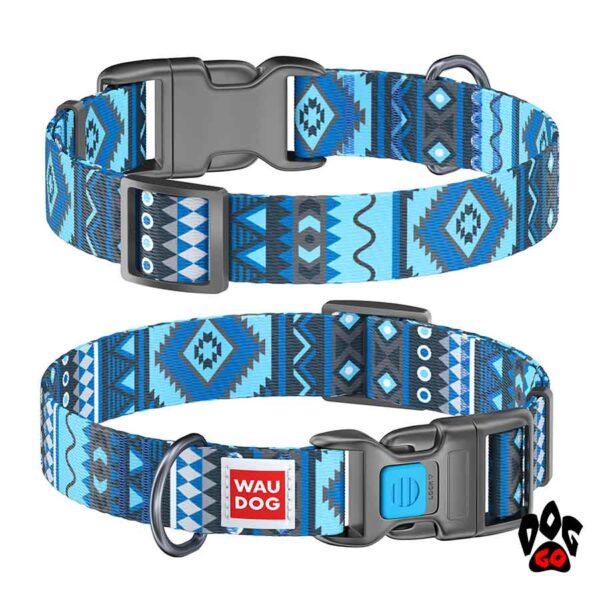 COLLAR Ошейник для маленьких собак WAUDOG Nylon с рисунком, XS (23-35 см) - Этно синий