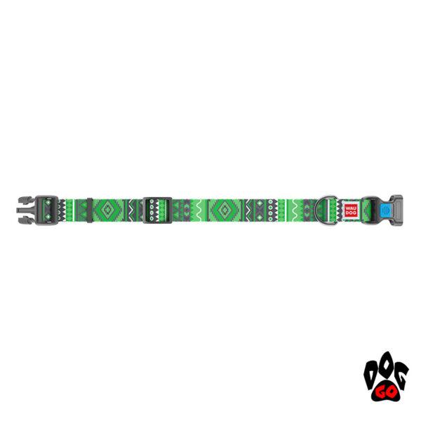 COLLAR Ошейник для маленьких собак WAUDOG Nylon с рисунком, XS (23-35 см) - Этно зеленый-2