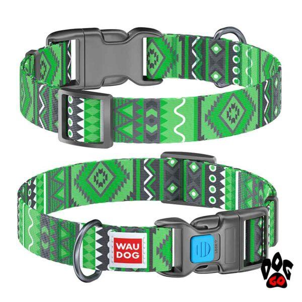 COLLAR Ошейник для маленьких собак WAUDOG Nylon с рисунком, XS (23-35 см) - Этно зеленый