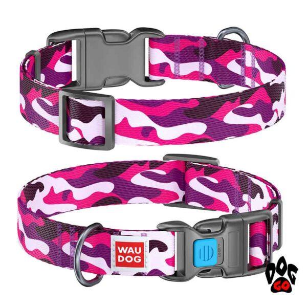 COLLAR Ошейник для маленьких собак WAUDOG Nylon с рисунком, XS (23-35 см) - Розовый камо
