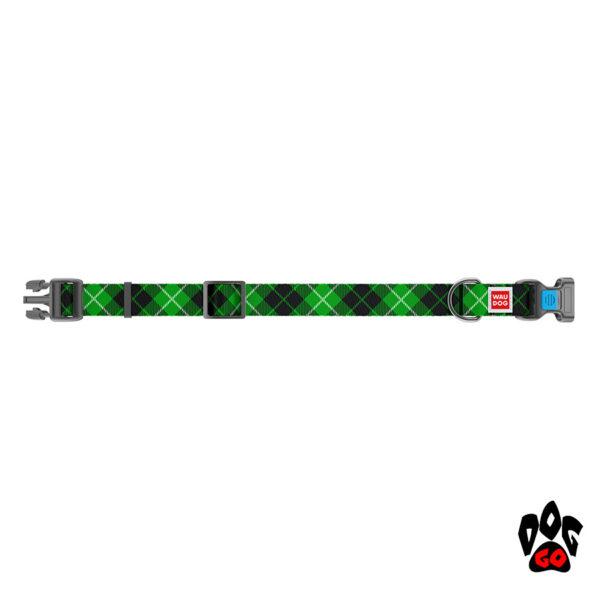 COLLAR Ошейник для маленьких собак WAUDOG Nylon с рисунком, XS (23-35 см) - Шотландка зеленая-2