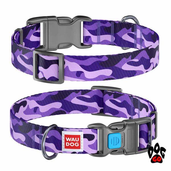 COLLAR Ошейник для маленьких собак WAUDOG Nylon с рисунком, XS (23-35 см) - Фиолетовый камо
