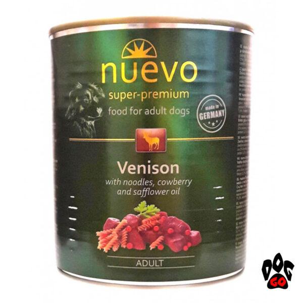 Консервы для собак НУЭВО NUEVO ADULT с олениной, брусникой и сафлоровым маслом, 800 г