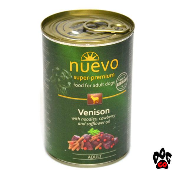 НУЭВО консервы для собак ADULT с олениной, брусникой и сафлоровым маслом, 400 г