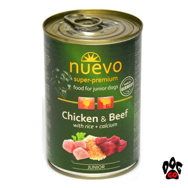 Nuevo super-premium Консервы для щенков JUNIOR с курицей, говядиной и рисом + кальций, 400 г