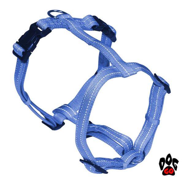 Шлея для джек-рассела, чихуахуа, йорка CROCI SOFT REFLECTIVE светоотражающая, нейлон, M (35-50 см) Голубой