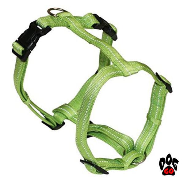 Шлейка для йорка, той-терьера, чихуахуа CROCI SOFT REFLECTIVE, светоотражающая, нейлон, S (25-40 см) Зеленый