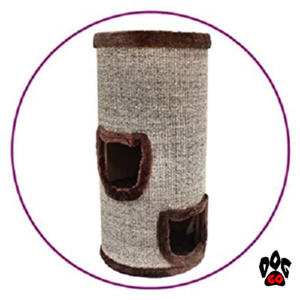 Когтеточка для кошек CROCI Cat Tower, сезаль+плюш, 34x34x70 см-2