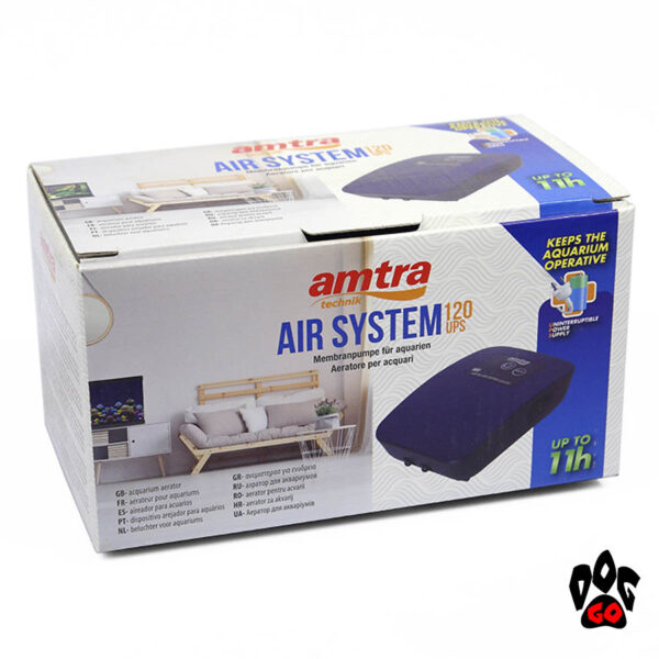 Аккумуляторный компрессор для аквариума 300 литров Amtra AIR SYSTEM UPS 360 SET, до 14ч-3