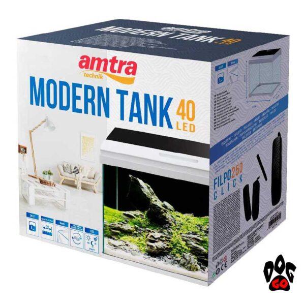 Аквариум AMTRA MODERN TANK 40 LED, 28 л, 42.5х23.5х36.5 см, 5 мм, LED 9 Вт, 3 цвета в крышке