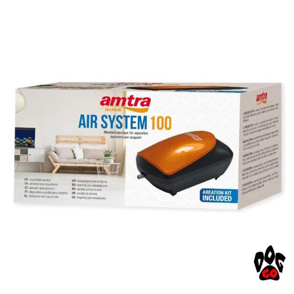 Бесшумный компрессор для аквариума на 100 литров Amtra AIR SYSTEM 100 л.ч, SET (шланг, расп-ли, клапан)-2