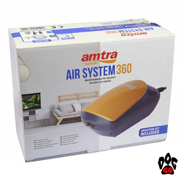 Компрессор для аквариума на 300 литров Amtra AIR SYSTEM 360 л.ч, бесшумный SET (шланг, расп-ли, клапан)-5