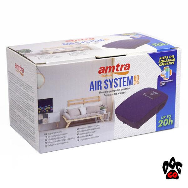 Компрессор для маленького аквариума до 50 литров Amtra AIR SYSTEM UPS 60 тихий SET, до 20ч-2
