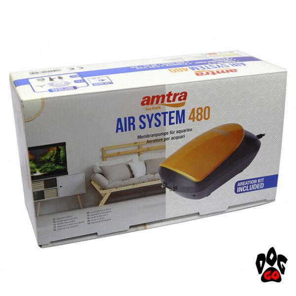 Мощный компрессор для аквариума 400 литров Amtra AIR SYSTEM SET бесшумный, 480 л.ч, SET (шланг, расп-ли, клапан)-2