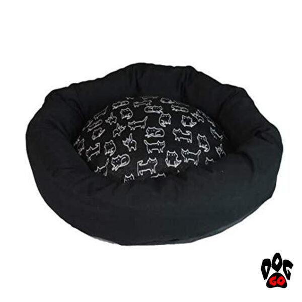 CROCI Диван для собак и кошек NELSON, круглый, черный-1