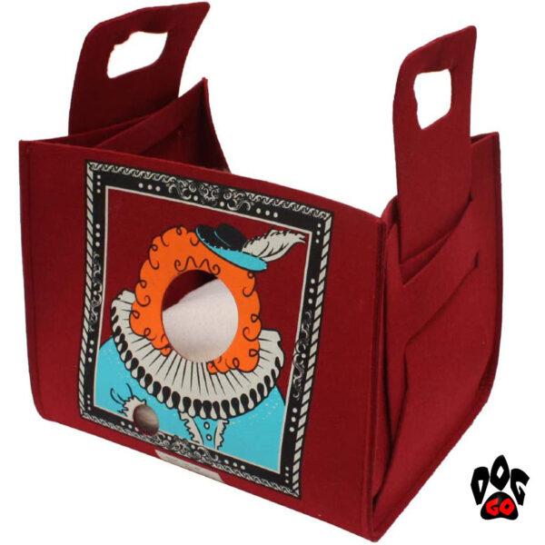 CROCI Диван-сумка для животного Popcat King Bordeaux, бордовый, 35х25х30см-1