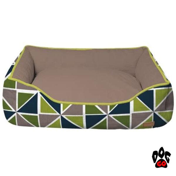 CROCI Кроватки для собак и кошек COZY RAY, прямоугольный, серый+зелено-синий-1