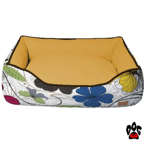CROCI Лежак-диван для животных Cozy Flo, прямоугольный, оранжевый, цветы, цветы-1