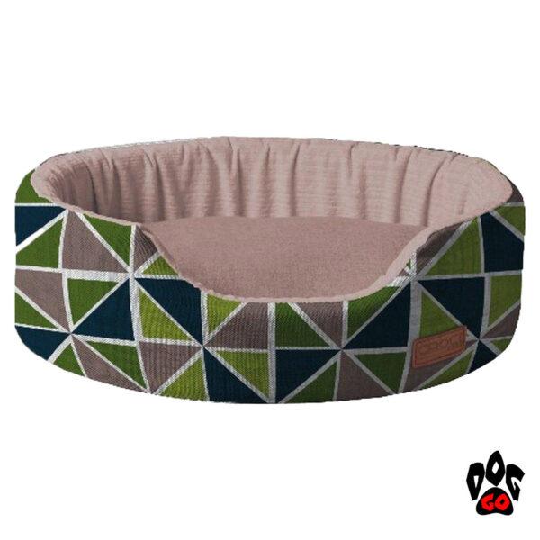 CROCI Лежак для собак и кошек COZY RAY, овальный, серый+зелено-синий, 50x35x14см-1