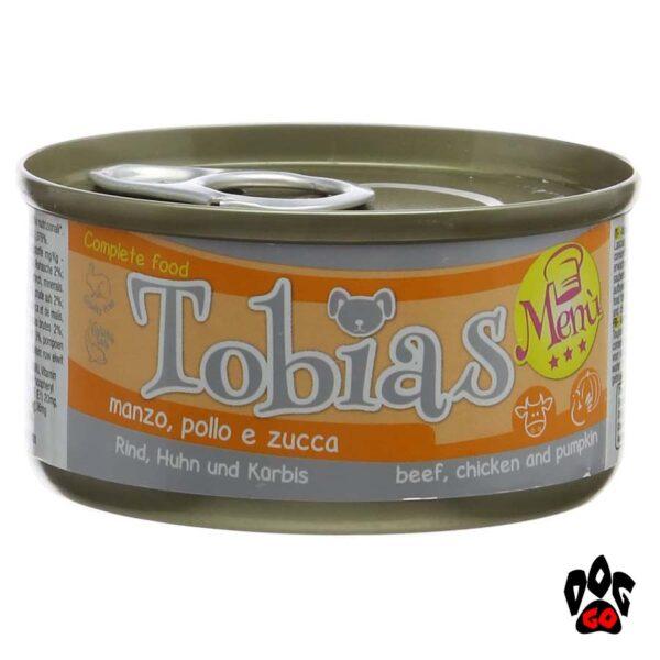 Конcервы для собак TOBIAS MENU, говядина+куриное сердце+тыква, 85г
