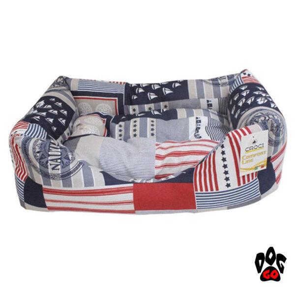 Кровать для собаки CROCI Nautica, синий+белый+красный, 70х60см-1
