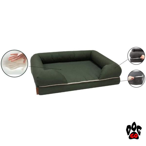 Ортопедический диван для собак CROCI REVENANT LIMITLESS с эффектом памяти, прямоугольный, зеленый-3