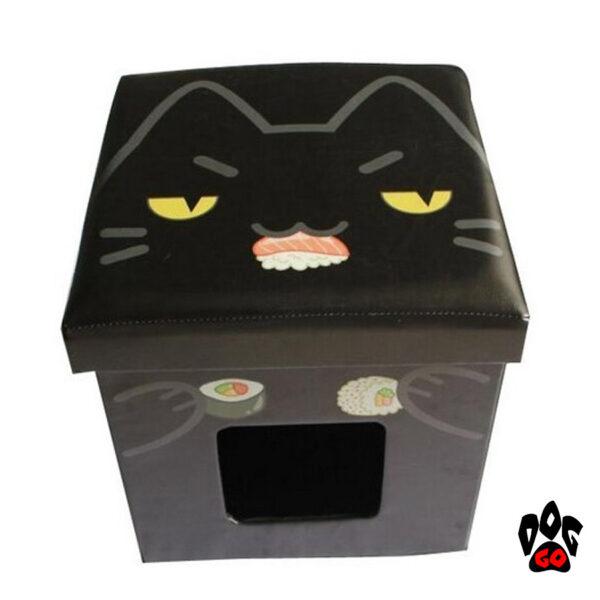 Пуфик для кота с домиком CROCI Catmania Black Cat, для интерьера, черный, 38х38х38см-1