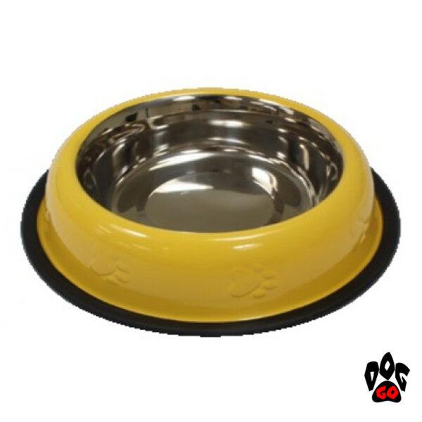 CROCI Миска непроливайка для собак, нержавейка, на резинке, глазурь желтая-1