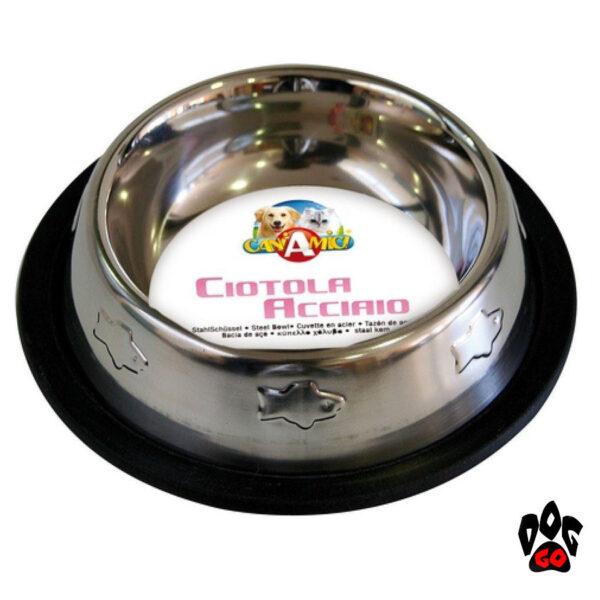CROCI Миски для кошек и собак, непроливайка с резинкой, нержавейка с чеканкой-1