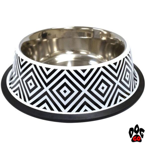 CROCI Миски для собак с резинкой Twiggy Diamond, нержавейка с резиновым основанием, орнамент-1