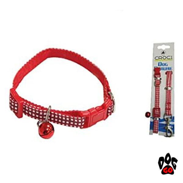 Комплект ошейник и поводок для кошек и собак CROCI MINI PICNIC, с колокольчиком, нейлон, 16-24х0,8см / 0,8х120см-1