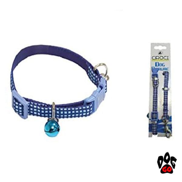 Комплект ошейник и поводок для кошек и собак CROCI MINI PICNIC, с колокольчиком, нейлон, 16-24х0,8см / 0,8х120см-3