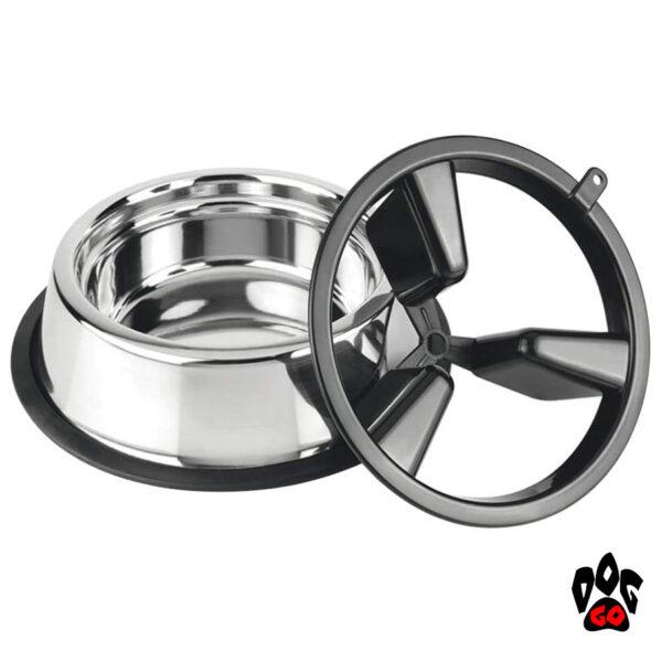 Миска для собак для медленного кормления CROCI Slow Eating 2in1, металл, пластиковый делитель, 27см-1