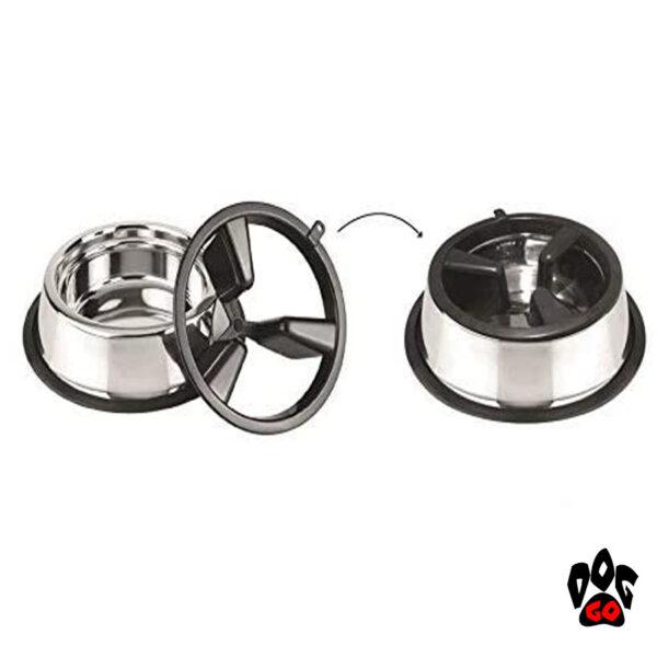 Миска для собак для медленного кормления CROCI Slow Eating 2in1, металл, пластиковый делитель, 27см-3