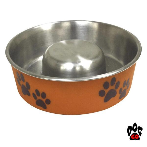Миска для собак для медленной еды CROCI сатин Roxy Slow Eating, нержавейка, непроливайка на резиновой основе, оранж-1