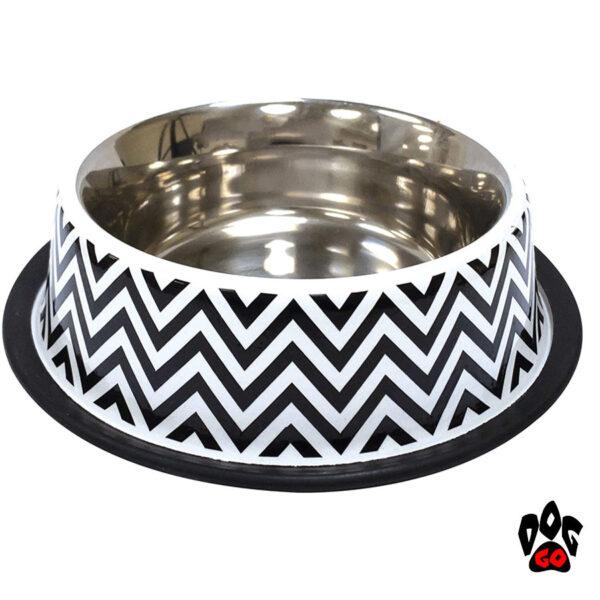 Миска непроливайка для собак CROCI Twiggy Stripes, нержавейка с резиновым основанием, орнамент-1
