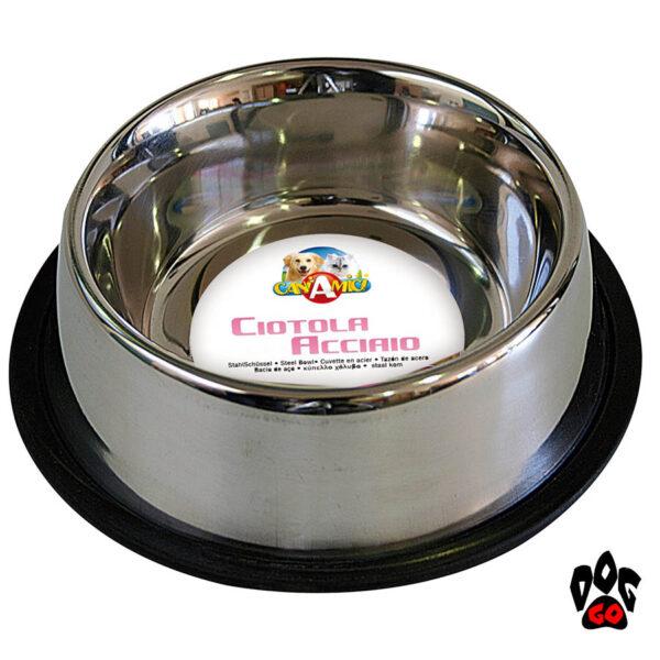 Миски для собак резинкой CROCI Мас непроливайка, нескользящая, металлическая-1