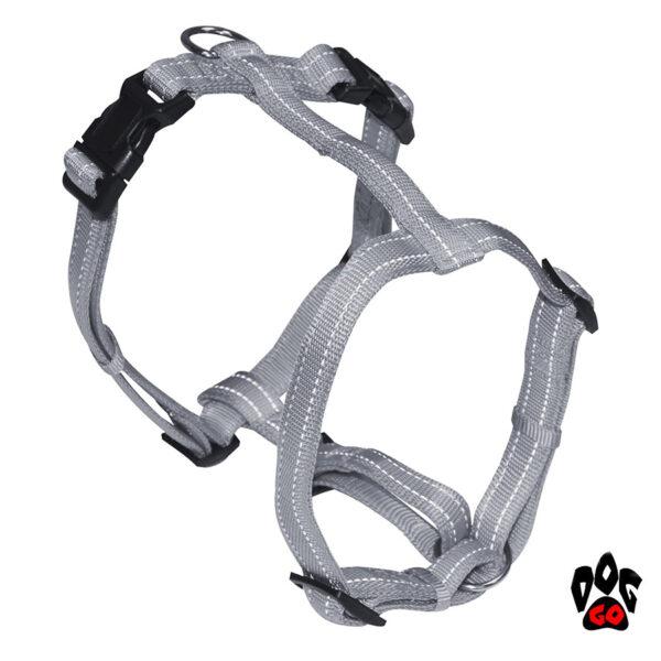 Мягкая шлея для собак CROCI SOFT REFLECTIVE H-образная, светоотражающая, нейлон-4