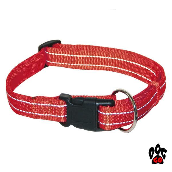 Мягкий ошейник для собак CROCI SOFT REFLECTIVE светоотражающий, нейлон, красный