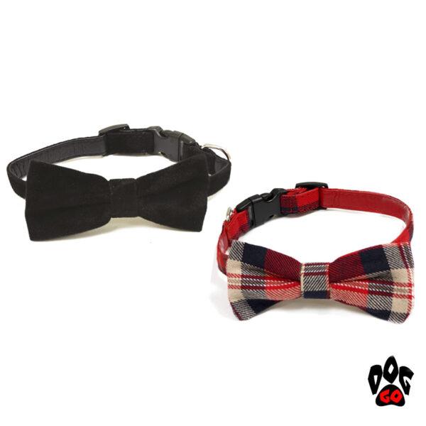 Ошейник с бантиком для собак CROCI FIOCCO, кожзам, 35.5-43х2см (черный, красный)-1