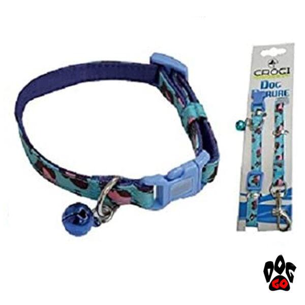 Поводок+ошейник для собак CROCI MINI JUNGLE, с колокольчиком, нейлон, 16-24х0,8см / 0,8х120см-1
