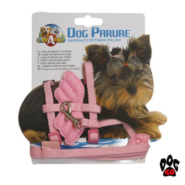 Поводок+шлейка для маленьких собак CROCI ANGEL WINGS, розовый, нейлон, 20-29х1см / 1х120см-1