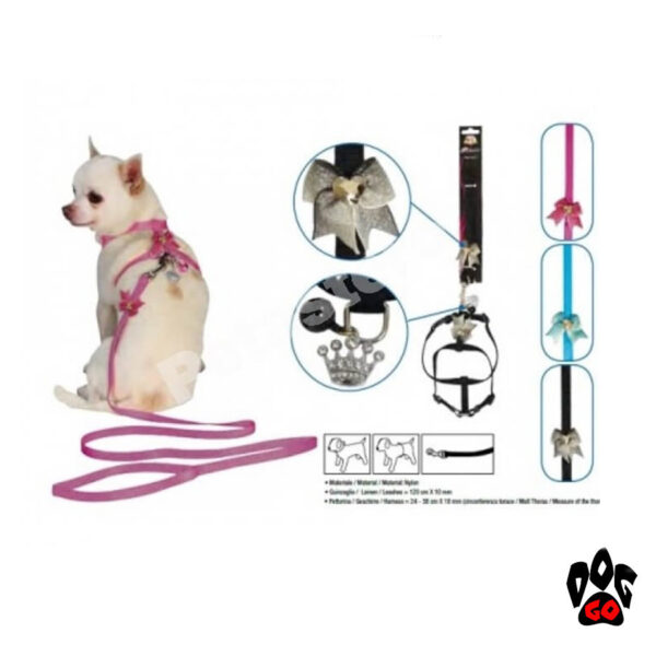 Поводок+шлейка для маленьких собак CROCI VANITY MINIDOG, нейлон, 24-38х1см, 120х1см-2